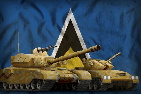 tanks with orange camouflage on the Saint Lucia flag background. Saint Lucia tank forces concept. 3d Illustration Stok Fotoğraf