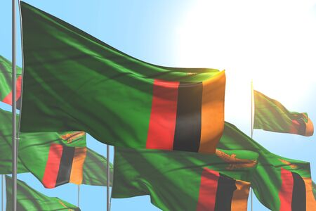 pretty labor day flag 3d illustration  - many Zambia flags are waving on blue sky background