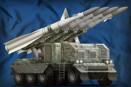tactical short range ballistic missile with arctic camouflage on the Saint Lucia flag background. 3d Illustration