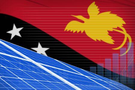 Papua New Guinea solar energy power digital graph concept  - environmental energy industrial illustration. 3D Illustration Stok Fotoğraf