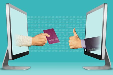 information concept, hands from monitors. passport and thumbs up, like . 3d illustration