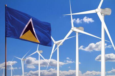 Saint Lucia alternative energy, wind energy industrial concept with windmills and flag - alternative renewable energy industrial illustration, 3D illustration Stok Fotoğraf