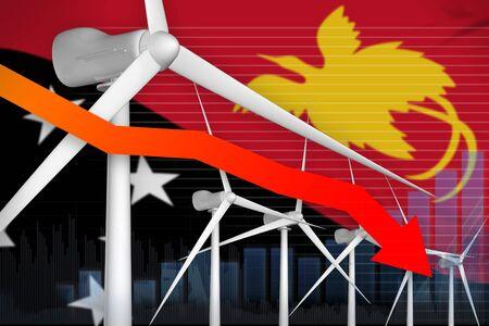 Papua New Guinea wind energy power lowering chart, arrow down  - renewable energy industrial illustration. 3D Illustration