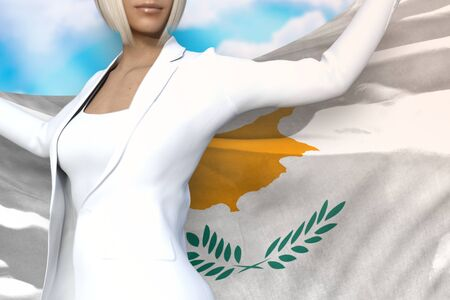 young business woman is holding Cyprus flag in her hands behind her on the blue sky background - flag concept 3d illustration