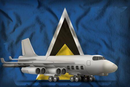 bomber on the Saint Lucia flag background. 3d Illustration Stok Fotoğraf