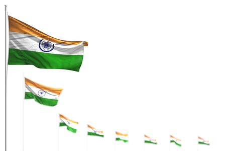 pretty India isolated flags placed diagonal, illustration with soft focus and space for content - any feast flag 3d illustration
