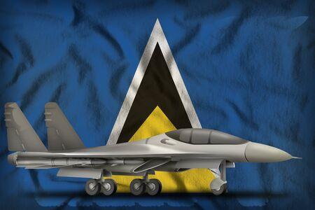fighter, interceptor on the Saint Lucia flag background. 3d Illustration