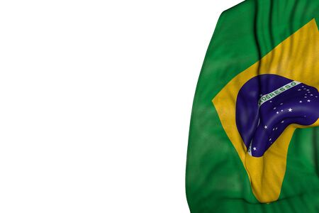 nice feast flag 3d illustration  - Brazil flag with big folds lay in left side isolated on white