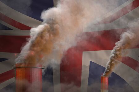 heavy smoke of factory pipes on United Kingdom (UK) flag - global warming concept, background with space for your text - industrial 3D illustration