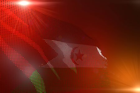 pretty any feast flag 3d illustration  - bright illustration of Western Sahara flag made of dots waving on orange background with space for your text
