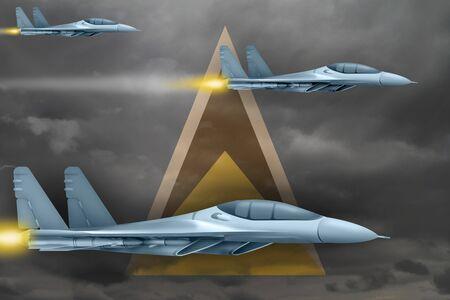 Saint Lucia air strike concept. Modern war airplanes attack on Saint Lucia flag background. 3d Illustration