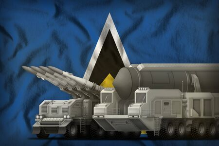 rocket forces on the Saint Lucia flag background. Saint Lucia rocket forces concept. 3d Illustration Stok Fotoğraf