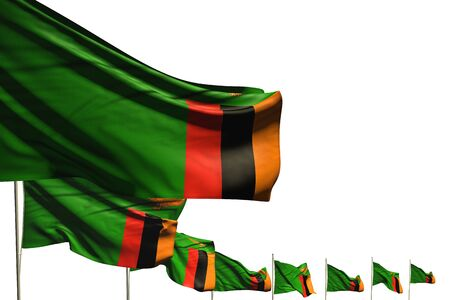 wonderful many Zambia flags placed diagonal isolated on white with place for your text - any occasion flag 3d illustration Stok Fotoğraf