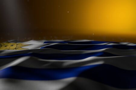 cute dark illustration of Uruguay flag lie on yellow background with soft focus and free place for your text - any holiday flag 3d illustration