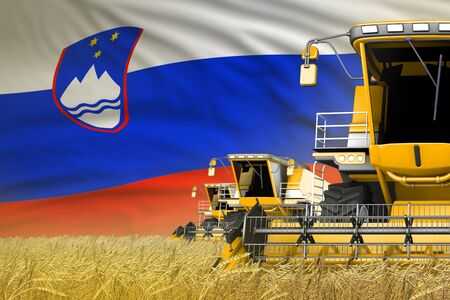 3 yellow modern combine harvesters with Slovenia flag on grain field - close view, farming concept - industrial 3D illustration