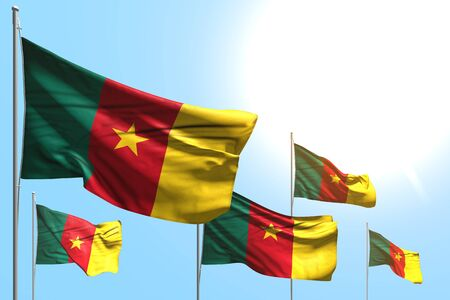 cute holiday flag 3d illustration  - 5 flags of Cameroon are wave on blue sky background