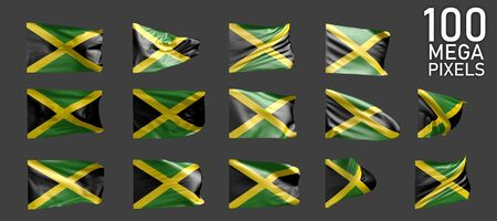 14 various images of Jamaica flag isolated on grey background - 3D illustration of object