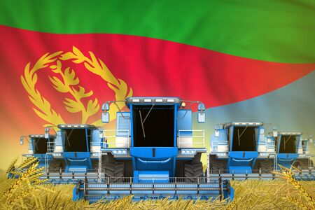 industrial 3D illustration of some blue farming combine harvesters on grain field with Eritrea flag background - front view, stop starving concept Stok Fotoğraf