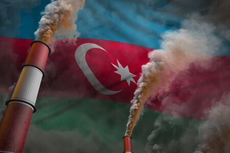 Pollution fight in Azerbaijan concept - industrial 3D illustration of two huge plant pipes with heavy smoke on flag background Stok Fotoğraf