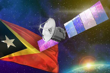 Satellite with Timor-Leste flag, space communications technology concept - 3D Illustration