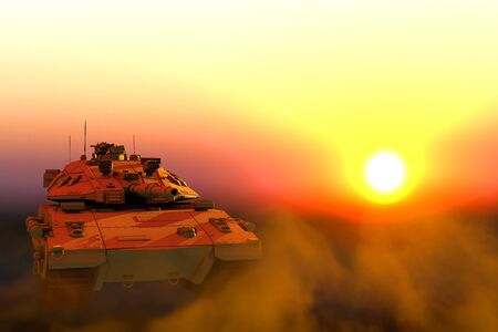 desert camo miltary tank with design that not exists on sunset, high detail serve and protect concept - military 3D Illustration