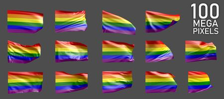 a lot of different realistic renders of Gay Pride flag isolated on grey background - 3D illustration of object