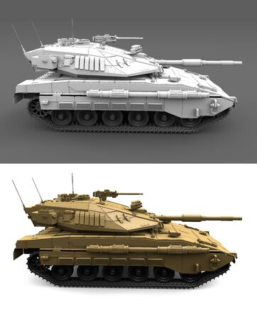 Military 3D Illustration of light grey and desert camouflage heavy tanks with fictional design, high resolution isolated tank forces concept Stock fotó
