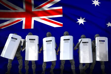 Australia police guards protecting government against mutiny - protest fighting concept, military 3D Illustration on flag background