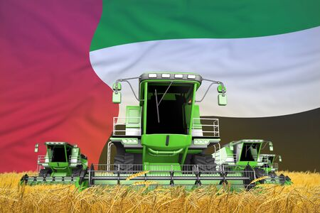 industrial 3D illustration of 4 light green combine harvesters on grain field with flag background, United Arab Emirates agriculture concept