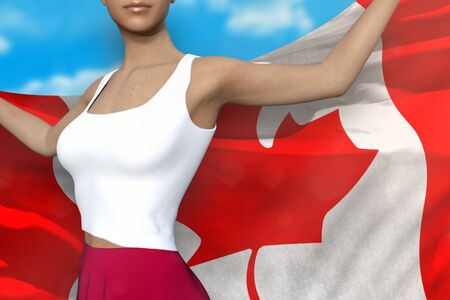 pretty girl in bright skirt is holding Canada flag in her hands behind her on the cloudy sky background - flag concept 3d illustration Stok Fotoğraf