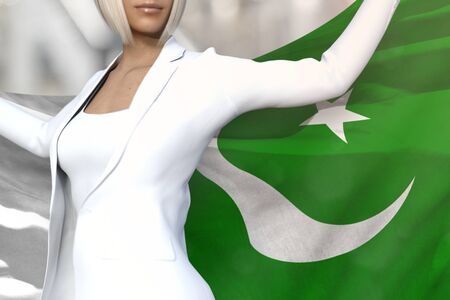 pretty business lady is holding Pakistan flag in her hands behind her on the office building background - flag concept 3d illustration Stok Fotoğraf