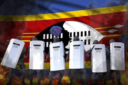 Swaziland police special forces in heavy smoke and fire protecting state against disorder - protest fighting concept, military 3D Illustration on flag background