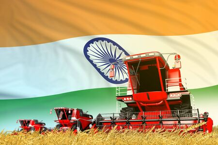 red rye agricultural combine harvester on field with India flag background, food industry concept - industrial 3D illustration