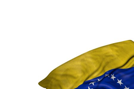pretty Venezuela flag with large folds lay in bottom right corner isolated on white - any holiday flag 3d illustration