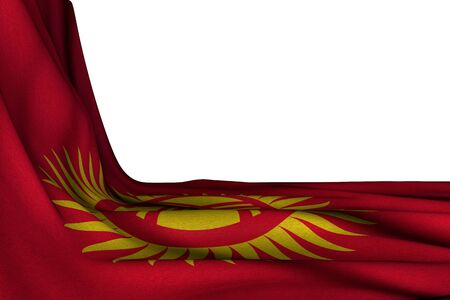 nice independence day flag 3d illustration  - isolated mockup of Kyrgyzstan flag hanging in corner on white with empty space for text