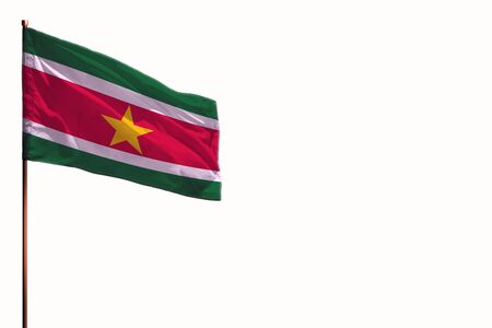 Fluttering Suriname flag isolated, mockup with the place for your text on white background.