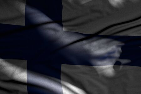 nice any feast flag 3d illustration  - image of dark Finland flag with folds lay in shadows with light spots on it