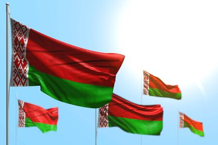 wonderful celebration flag 3d illustration  - 5 flags of Belarus are wave against blue sky illustration with bokeh