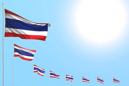 wonderful many Thailand flags placed diagonal on blue sky with space for your text - any holiday flag 3d illustration