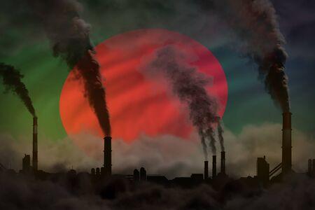 Dark pollution, fight against climate change concept - factory chimneys dense smoke on Bangladesh flag background - industrial 3D illustration