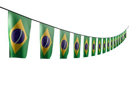 nice many Brazil flags or banners hangs diagonal with perspective view on rope isolated on white - any occasion flag 3d illustration  Stok Fotoğraf