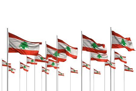beautiful many Lebanon flags in a row isolated on white with empty place for text - any occasion flag 3d illustration  Stok Fotoğraf