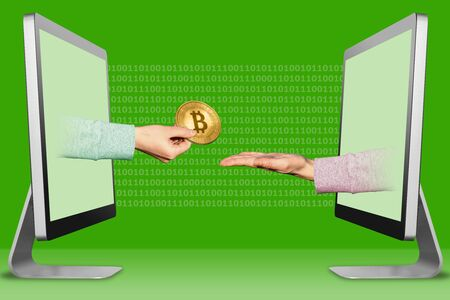 web concept, hands from monitors. hand with bitcoin and pleading gesture . 3d illustration Stok Fotoğraf