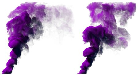 Two beautiful purple colored smoke pillar isolated on white, 3D illustration of object