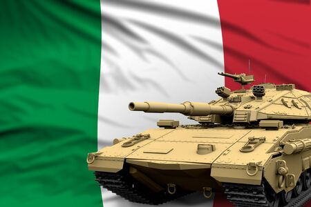 Italy modern tank with not real design on the flag background - tank army forces concept, military 3D Illustration