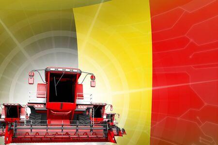 Farm machinery modernisation concept, red modern rural combine harvesters on Belgium flag - digital industrial 3D illustration Stok Fotoğraf