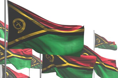 nice many Vanuatu flags are waving isolated on white - any holiday flag 3d illustration