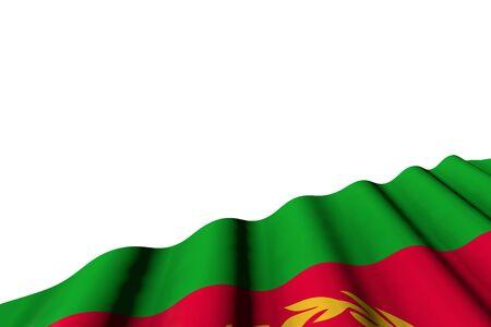 wonderful shining flag of Eritrea with large folds lie in right bottom corner isolated on white - any holiday flag 3d illustration