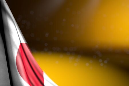 nice feast flag 3d illustration  - illustration of Japan flag hanging diagonal on yellow with selective focus and empty place for content Stok Fotoğraf