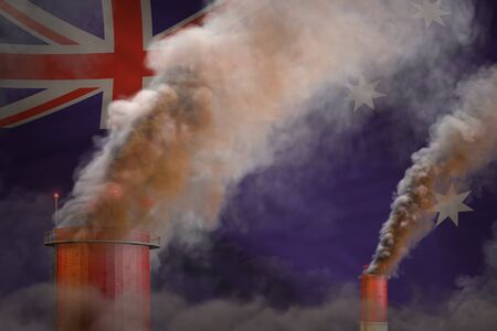 Global warming concept - heavy smoke from plant pipes on Australia flag background Stock Photo - 138546605